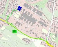 Der grün eingezeichnete Weg markiert die Umleitung zum Parkplatz des CeBiTec während der Straßensperrung der Konsequenz