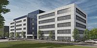 Im linken Gebäudetrakt werden Labore gebaut, der rechte wird Büros beinhalten. Visualisierung: Goldbeck Nord GmbH