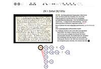 Knapp 3.300 Zettel wurden transkribiert und editiert. Screen: Universität Bielefeld
