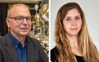 Prof. Dr. Armin Gölzhäuser und Dr. Natalie Frese von der Fakultät Physik haben SARS-CoV-2 mit dem Heliumionen-Mikroskop untersucht. Foto links: Universität Bielefeld/M.-D. Müller, Foto rechts: Thomas Popien