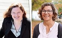 Sie leiten DILBi hoch hundert: Dr. Claudia Mertens (li.) und Prof'in Dr. Anna-Maria Kamin (re.). Foto links: Hilla Südhaus, Foto rechts: Universität Bielefeld
